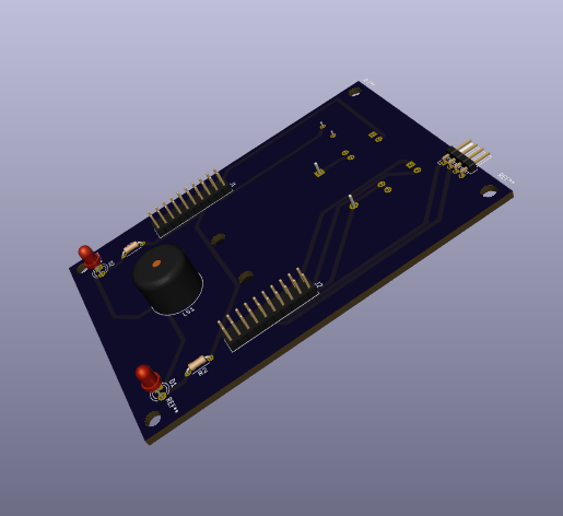 A render of a PCB showing some LEDs and a speaker