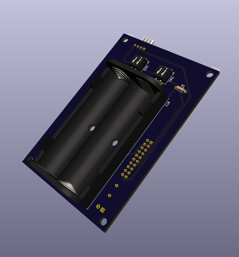 A render of a PCB showing a battery bank and some switches